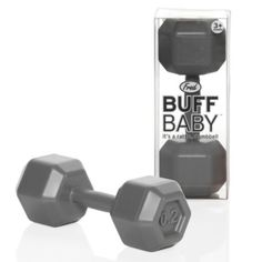 its a rattle... in the shape of a dumbbell... so funny
