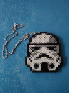 Stormtrooper perler beads Necklace by MilkshakeTrinkets