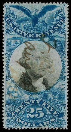 United States, Scott R130. $25 Blue & Black, MC, deep dark color, Fine-Very Fine, nice stamp Catalog value: 1150.00  Dealer Aldrich Auction  Auction Starting Price: 500.00 US$
