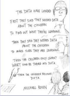 Michael Rosen Data Interesting take on the education of our children Assessment For Learning, Learning Activities, Parent Handbook, Childhood Quotes, Teacher Memes, Teacher Stuff, Hands On Learning, Keynote Speakers, Teaching English