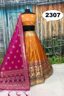 Lehenga Choli | Lehenga | Lehenga Design | Lehenga Online at Joshindia.com Banarasi Lehenga, Yellow Lehenga, Lehenga Choli Online, Lehenga Designs, Embellished Sandals, Yellow Print, Cotton Blouses, Salwar Kameez, Hair Pins