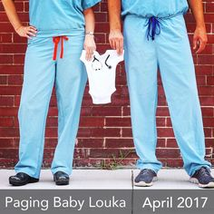 Pregnancy baby announcement for doctor, nurse or someone in the medical field.