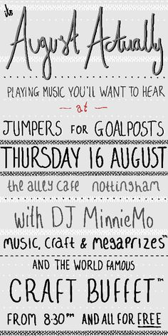 Jumpers for Goalposts: the best music n craft night you'll ever go to!