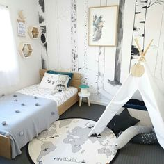 Firstly it's FriYay! Secondly look at this amazing room by @sipsopkids. So much to love including that forest of trees on the wall   You can find many of the goodies in this pic on our website including OYOY's The World Rug (September pre-order currently open) Kip & Co pom-pom blankets and deep lake velvet pillowcases and friendly old Pale Nulle the rabbit from Lucky Boy Sunday x