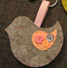 Handsewn wool and acrylic felt bird keyring by daisyanndesigns, £3.00