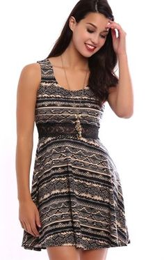 Deb Shops Tribal Print Skater Dress with Illusion Lace Waist $26.25