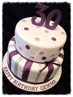 Purple and silver 30th birthday cake xx