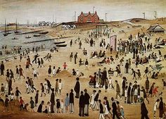 Beach scene by L.S. Lowry
