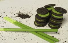 Green tea Oreo and Pocky from Japan. Still life