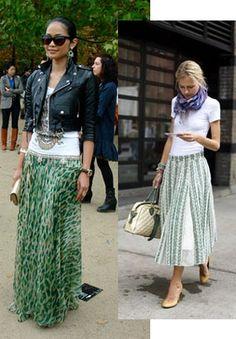 Green trasparent print long skirt+ white top+ black short jacket, gorgeous!