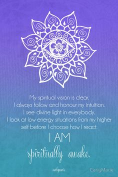 *Beautiful -  Stay connected!* Third Eye Chakra Affirmation by CarlyMarie