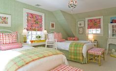 Joyful green guestroom - Love the fabrics with the wall color. Description from pinterest.com. I searched for this on bing.com/images
