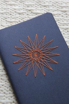 St. Anne's Star Notebook - Sacred Geometry : Navy Blue with Burnt-Orange Thread by TheInfiniteThread on Etsy