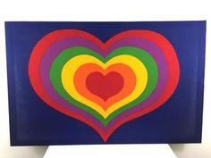 vintage 1977 rainbow pop art HEART WALL ART finland tampella sydan tapestru
