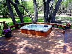 These Hot Tub Deck pictures will show you some examples and give you some new ideas. Piscina Spa, Sunken Hot Tub, Jacuzzi Bath, Hot Tub Deck, Walk In Bathtub, Deck Pictures, Pergola Lighting, Whirlpool Bathtub, Pergola Patio
