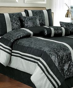 Take a look at this Black Eudora Comforter Set by CHD Textiles on #zulily today!