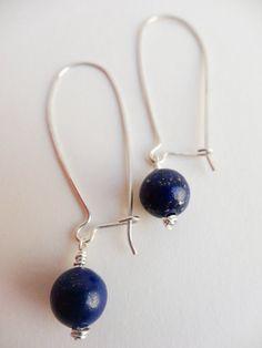 Kidney earwires, Lapis Lazuli earrings in Sterling Silver by #SilverZoo