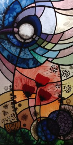 'Love Bears All Things' etched, painted, fired and leaded stained glass panel by Nicola Kantorowicz, Reading, UK