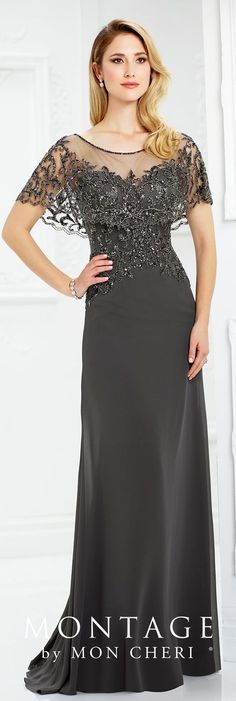 Formal Evening Gowns by Mon Cheri - Fall 2017 - Style No 217947 - dark gray chiffon slim A-line gown with hand-beaded scalloped illusion capelet