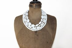 Chunky White Beaded Necklace  White Multi Strand by MeadowsVintage, $15.00