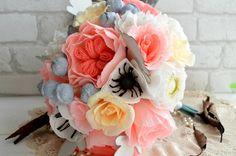 Crepe paper flower bouquet wedding paper by Floweremotions2
