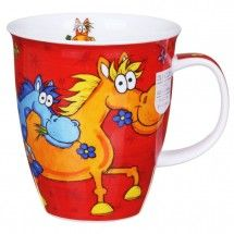 Dunoon Barmy Farmy Horse Nevis Shape Mug Jane Brookshaw's cartoon animals are always popular, and feature in the Barmy Farmy range from Dunoon. Depicted in a humorous cartoon style with crazy eyes and brightly co
