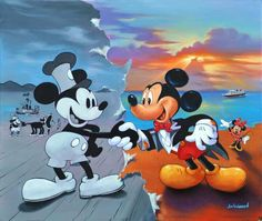 Mickey Mouse - Past meets present Walt Disney, Disney Pixar, Deco Disney, Disney Animation, Disney And Dreamworks, Disney Love, Disney Stuff, Disney Characters, Mickey Mouse And Friends