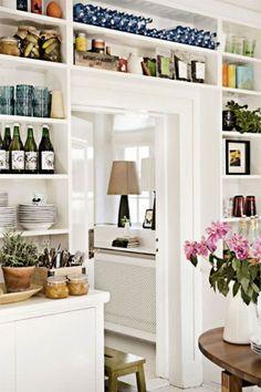 White Bookshelves butler's pantry