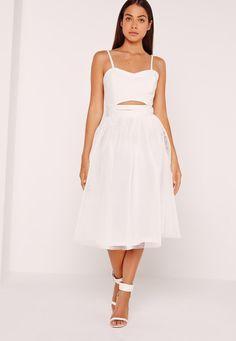 Missguided - Mesh Full Airtex Midi Skirt White