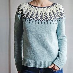 "Vintersol (""winter sunshine"") is inspired by a walk in a frosty, wintery meadow. This example is made with a soft and wooly double strand of Camilla Vad yarn, Hand Knitted Sweaters, Sweater Knitting Patterns, Knitting Designs, Knit Patterns, Fair Isle Knitting, Hand Knitting, Icelandic Sweaters, Casual Sweaters, Pulls"