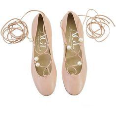 Attilio Giusti Leombruni - Nude nappa leather pearl embellished... (€215) ❤ liked on Polyvore featuring shoes, flats, nude shoes, ballet flat shoes, ballet shoes, nude ballet flats and embellished flats