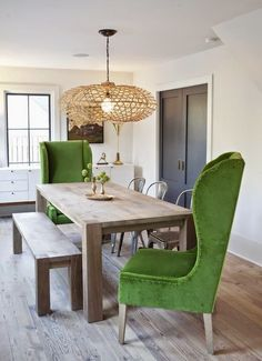 Farmhouse Table with bright upholstered chairs?