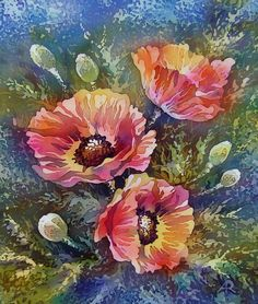 """Red Poppies. Original Painting on Silk. One of a kind Artwork. 25 X 30 cm. (10"""" X 12"""").Silk stretched on canvas.Ready to Ship."""