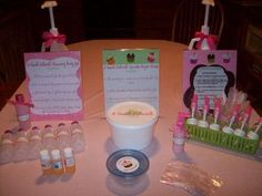 Spa Birthday Party Ideas - make their own spa product at the party activity