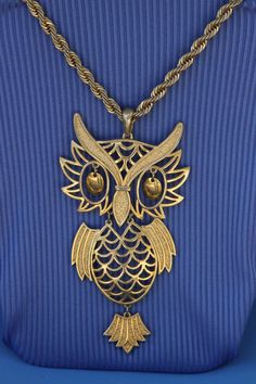 Owl Necklace 14K gold plate by VintageJewelryMagic on Etsy