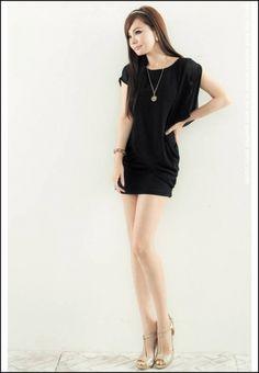 Fashion Design Flouncing Chiffon Dress Black on BuyTrends.com $23.96