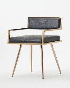Modrest Rosario Modern Black & Rosegold Dining Chair