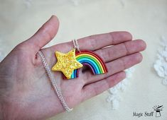 Rainbow necklace Star necklace Gift for her Wish necklace Sparkling star Lgbt pride necklace Lgbt pendant Kids necklace Rainbow pendant WELCOME! Up for sell handmade Rainbow pendant with sparkling star . Made of polymer clay (: This item is in stock and ready to ship! If you love