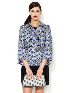 Lettie Printed Cotton Trench by kate spade new york in yves blue deco square