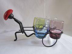 Vintage Kitsch Atomic Shot Glass Set Mid Century Barware