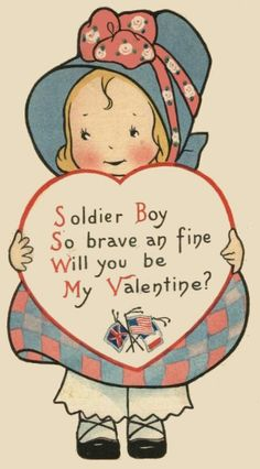 Aww, I love this!   Vintage valentine's day card for a soldier