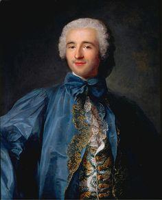 Jean-Marc Nattier ~ Portrait of a gentleman in a blue coat