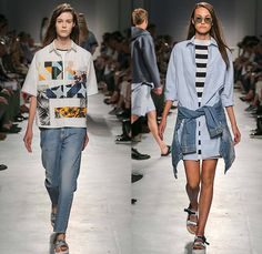 MSGM by Massimo Giorgetti 2015 Spring Summer Womens Runway Looks - Milano Moda Uomo Collezione Milan Fashion Week Italy Camera Nazionale della Moda Italiana - Denim Jeans Geometric Patterns Mix Match Foliage Leaves Fauna Stars Sandals Stripes Long Shirt Racing Check Patches Anorak Rain Jacket Hoodie Shirtdress