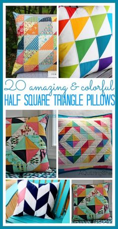 tons of patterns and ideas for half square triangle pillows - - some great for beginner sewers!