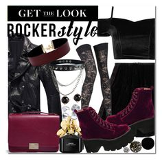 """Get the look: Rocker Style"" by misskouture ❤ liked on Polyvore featuring Fendi, Pierre Mantoux, Jeffrey Campbell, Lauren Merkin, Marc Jacobs, Vanessa Mooney, Irene Neuwirth, Deborah Lippmann, Nails Inc. and JINsoon"