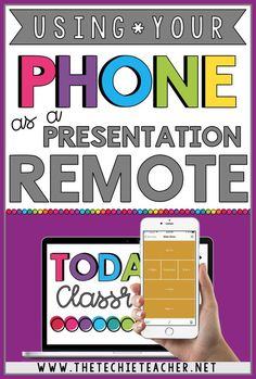 How to Use Your Phone as a Presentation Remote. Control your Google Slides™️ presentation, PowerPoint presentation, Prezi presentation, etc. straight from your phone! Great for your Meet the Teacher Night. Google Classroom, School Classroom, Apps For The Classroom, Classroom Websites, Teacher Websites, Classroom Setup, Music Classroom, Future Classroom, Classroom Organization