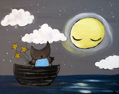 Woodland Owl Nursery Decor Boat with Night Sky and by andralynn, $100.00