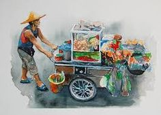 Image result for watercolor street scenes thailand Thailand, Sr1, Level 3, Food Illustrations, Painting Inspiration, Bangkok, Hong Kong, Watercolor, Street