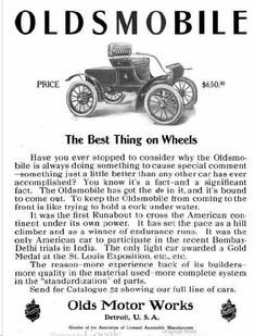 1905 Oldsmobile Automobile Advertisement