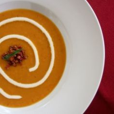 Roasted Butternut Squash Soup with Crispy Pancetta and Creme Fraiche... the perfect Autumn soup! Includes make-ahead instructions.